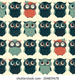 Cute colorful vector with owls. Seamless pattern