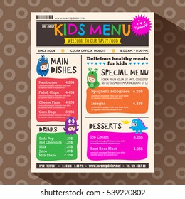 Cute colorful vibrant kids meal restaurant menu in newspaper style vector template