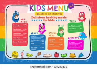 Cute colorful vibrant kids meal restaurant menu placemat vector template