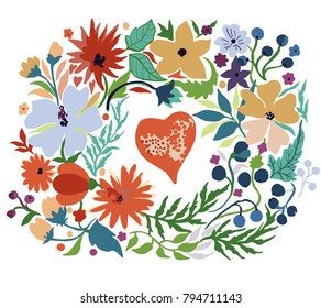 Cute colorful wreath with heart and floral elements.