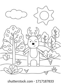 Cute coloring book with funny deer, sun, grass, trees. For the youngest children. Black sketch, simple shapes, silhouettes, contours, lines. Children's fairy tale vector illustration.