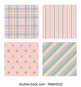 Cute colors four pattern set