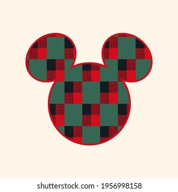 Cute colors pattern . Vector illustration of plaid design with  cute mouse. Vintage ornament for wallpaper, printing on the packaging paper, textiles, poster