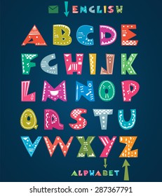 Cute colourful alphabet with hand drawn pattern
