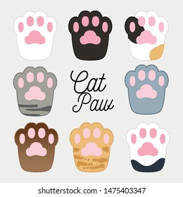 Cute Comic Cat Paws Illustration Collection