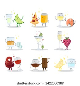 Cute comic drink cartoon characters, best friens vector illustration. Delicious combinations of alcoholic cocktails and snacks. Tequila, beer, wine, whiskey, martini, champagne, cognac, gin.