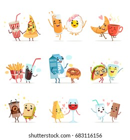 Cute comic food cartoon characters, best friends vector Illustrations
