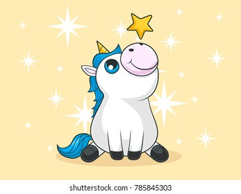 Cute Comic Unicorn with a star on his nose