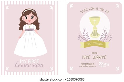 Cute Communion greeting girl character