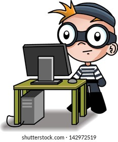 A cute computer hacker - Vector clip art illustration on white background