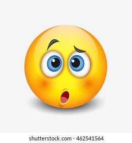 Cute confused emoticon - emoji, smiley - vector illustration