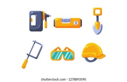 Cute construction hand tools, level, shovel, hacksaw, protective glasses, hard hat vector Illustration