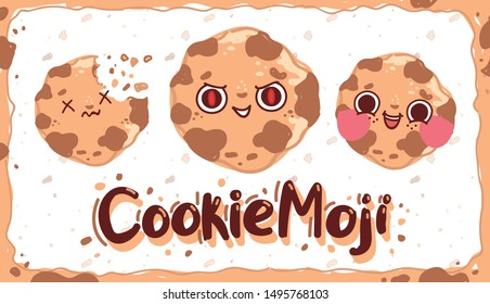 Cute Cookie Emoji character with emotions: evil, happy, smiling, broken. Hand drawn vector illustration in cartoon style