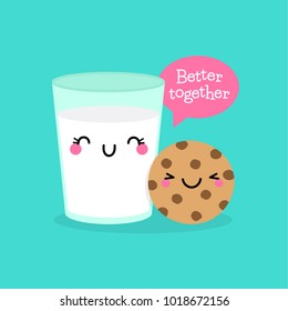 "Cute cookie and a glass of milk illustration with text ""Better together"" for valentine's day card design"
