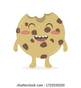 Cute cookie vector cartoon isolated on white background. Happy sweet chocolate chip cookie pastel vector cartoon.