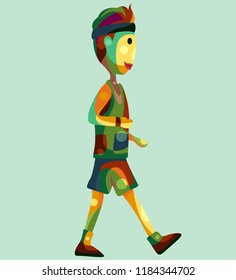 cute cool boy joging in full colours pop art illustration