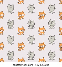 Cute Cool Seamless Pattern Baby Animals Pet Dog Cat . Pattern suitable for posters, postcards, fabric or wrapping paper.