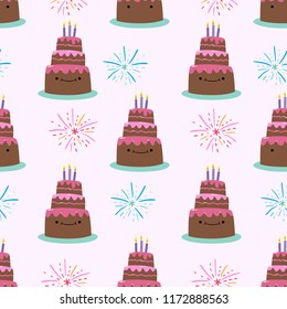 Cute Cool Seamless Pattern Birthday Party Celebration Tart. Pattern suitable for posters, postcards, fabric or wrapping paper.