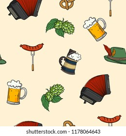 Cute Cool Seamless Pattern Octoberfest Theme Beer . Pattern suitable for posters, postcards, fabric or wrapping paper.