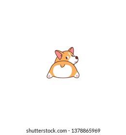 Cute corgi butt, welsh corgi dog looking back, vector illustration