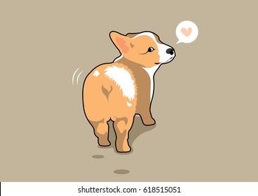 Cute Corgi Dog Butt