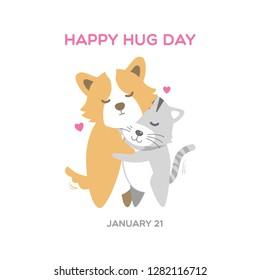 Cute corgi dog and cat illustrating hug day background vector.
