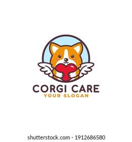Cute Corgi Dog Hugging Heart Care Logo Mascot Baby Shop