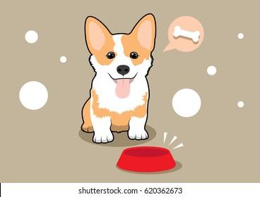 Cute Corgi Dog Hungry
