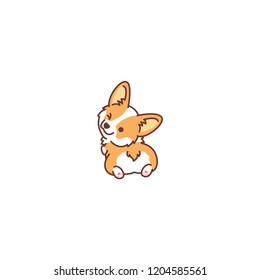 Cute corgi dog looking back and winking, vector illustration