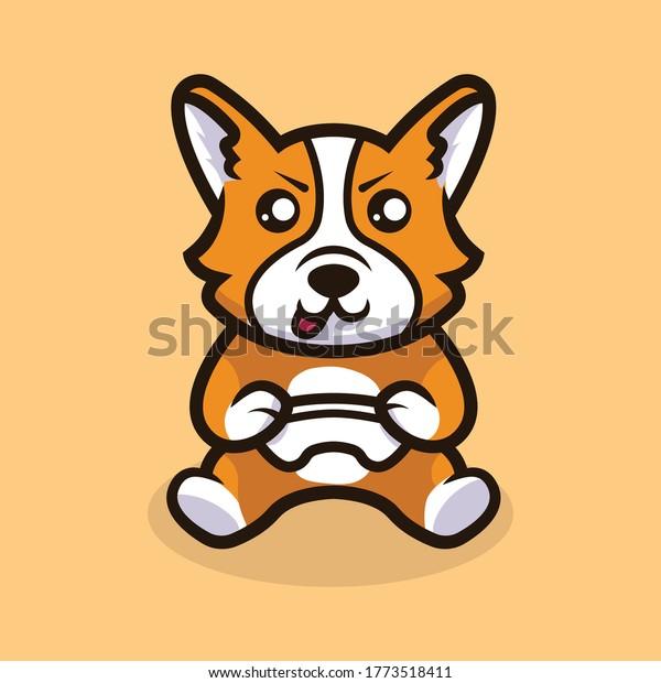 Cute corgi dog mascot illustration vector