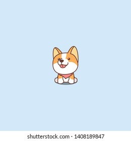 Cute corgi dog sitting and smiling cartoon icon, vector illustration