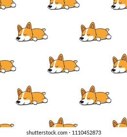 Cute corgi dog sleeping seamless pattern, vector illustration
