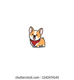 Cute corgi dog smiling, vector illustration