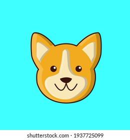 Cute corgi face cartoon icon, vector illustration.