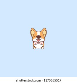 Cute corgi jumping, vector illustration