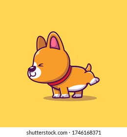 Cute Corgi Peeing Cartoon Vector Icon Illustration. Animal Icon Concept Isolated Premium Vector. Flat Cartoon Style