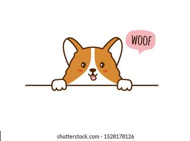 Cute corgi Puppy. Little dog. Speech bubble. Woof. Vector