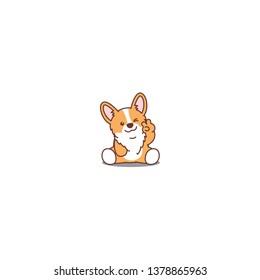 Cute corgi puppy sitting and winking eye cartoon icon, vector illustration