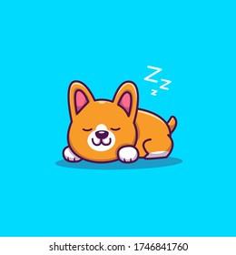 Cute Corgi Sleeping Cartoon Vector Icon Illustration. Animal Icon Concept Isolated Premium Vector. Flat Cartoon Style