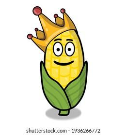 Cute corn character vector template design illustration