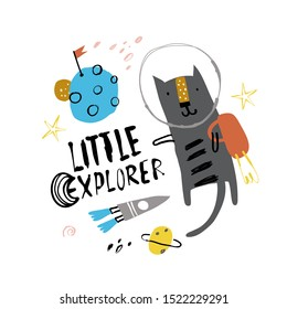 Cute cosmonaut cat in a spacesuit flies in outer space. Vector illustration on the space theme in childish style. Slogan LITTLE EXPLORER.