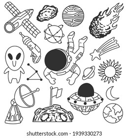 Cute cosmos doodles, black and white, hand drawn, lines, art
