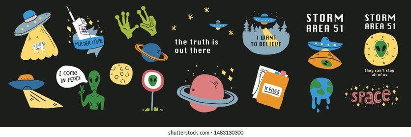 Cute cosmos stickers set concept. Set on a space theme with aliens, ufo, area 51 sign, planets - moon, saturn, stars, xfiles. Vector illustration isolated on black background. - Vector
