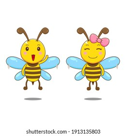 Cute couple bees. Vector illustration of chibi character isolated white background
