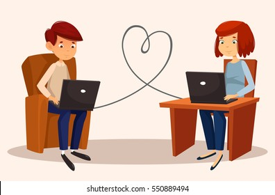 Cute couple - a boy and a girl. They communicate on the Internet. The wire between them forms the heart. Vector cartoon illustration. Characters. Romantic