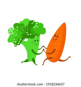 Cute couple broccoli and carrot is dancing. Funny vegetables on the party. Cartoon happy smiling characters. Active life style, dance, healthy food. Color vector illustration isolated on white