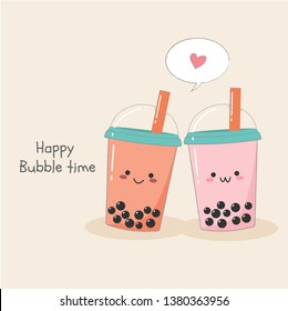 Cute couple of bubble milk ice teas in plastic containers vector card