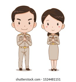 Cute couple cartoon of Thai government officers.