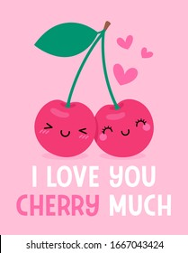 """Cute couple cherry cartoon with pun quote """"I love you cherry much"""" for valentine's day card design"""
