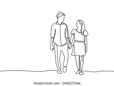 Cute couple continuous line drawing minimal design